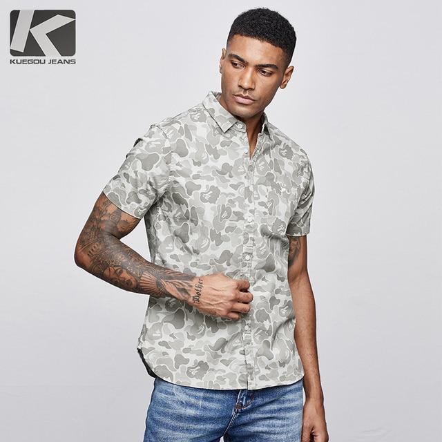 KUEGOU 2019 Sommer Baumwolle Camouflage Shirt Männer Kleid Casual Slim Fit Kurzarm Streetwear Für Bluse Männer Military Hemd 8817