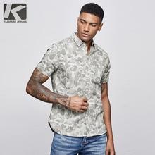 KUEGOU 2019 letnia bawełniana koszula w kamuflaż mężczyźni sukienka Casual Slim Fit odzież typu Streetwear z krótkim rękawem dla bluzki mężczyzn koszula wojskowa 8817