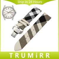 Grid Leather Watchband For Seiko Citizen Casio Hamilton Watch Band Steel Buckle Bracelet Wrist Strap 14mm