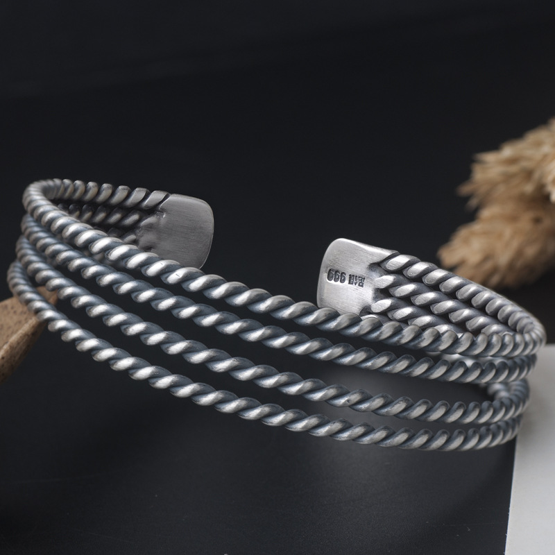 999 Sterling Silver Twist Braided Cuff Bangle & Bracelet for Women delicate silver cuff bracelet for women page 1