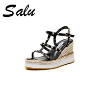 Salu 2019 newest fashion rivet beach shoes wedges women sandals genuine leather shoes female buckle summer casual shoes woman