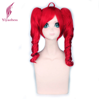 50cm Vocaloid Kasane Teto Cosplay Wig Red Synthetic Hair Wigs With Double Wavy Ponytails For Anime Halloween Costume Party
