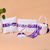Free Shipping White And Purple Bowknot Wedding Guest Book Pen Holder Ring Pillow Basket Set 4piece