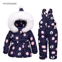 HYLKIDHUOSE 2017 Winter Infant Clothes Sets Baby Girls Down Suits Cartoon Thick Coats Pants Windproof Warm