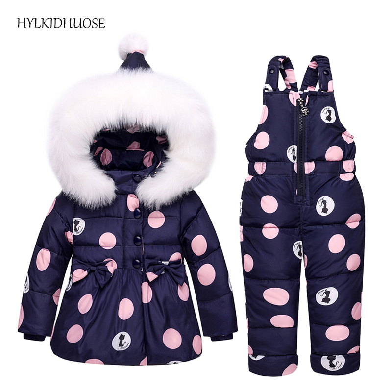 HYLKIDHUOSE 2017 Winter Infant Clothes Sets Baby Girls Down Suits Cartoon Thick Coats+Pants Windproof Warm Children Kids Suits