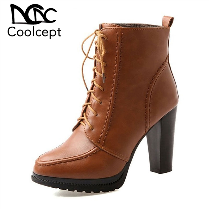 Coolcept Big Size 33-43 Spring And Autumn Sewing Mature Lace-Up Ankle Boots With Fur Super High Square Heel Women ShoesCoolcept Big Size 33-43 Spring And Autumn Sewing Mature Lace-Up Ankle Boots With Fur Super High Square Heel Women Shoes
