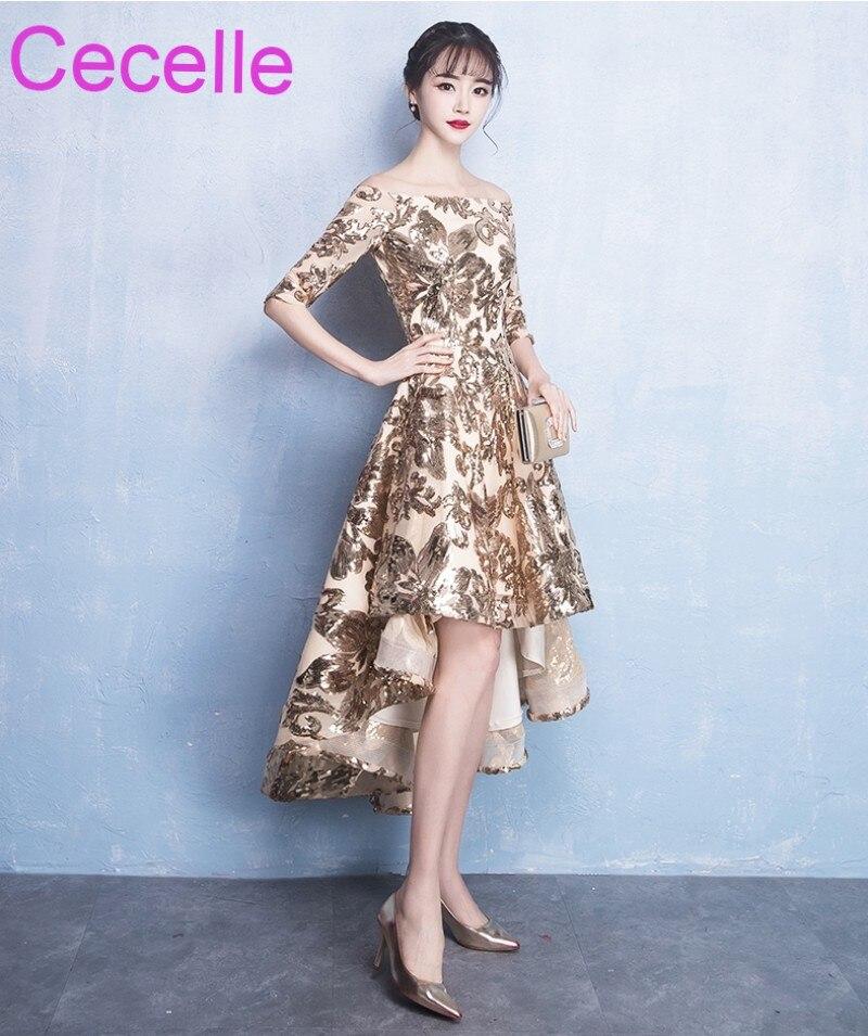 2019 Latest Gold Sequins Lace High Low Short Cocktail Dresses Off the Shoulder Short Half Sleeves Women Informal Party Dress
