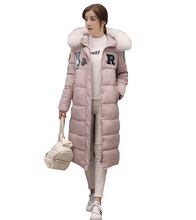 Autumn and winter new women's long coat down jacket imitation fox fur collar thick warm fashion Slim hooded down jacket