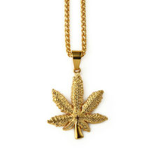 NYUK Wholesale Man Gold Cannabiss Small Weed Herb Charm Necklace Pendant Necklace Hip Hop Fashion Jewelry Collares Men Women