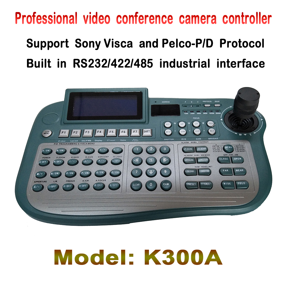 Professional Conference camera 3 Axis keyboard controller with Pelco D/P Visca Protocol, Control Pan, Tilt , Zoom Any PTZ Camera free shipping mini cctv joystick keyboard controller for security pan tilt zoom ptz speed dome camera support pelco p d protocol