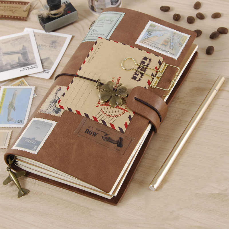 Traveler's Account Book Retro Notebook calendar agenda Stationery Diary journal note notebooks note books planner 2017 13 18 cm blank plain notepad notebook diary fleshiness plant printing note book agenda journal planner stationery
