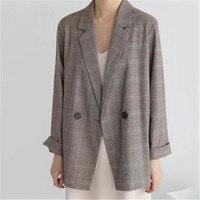 Korean Plaid Suit Jacket Female 2019 Spring Autumn British style Loose Casual retro Blazers For Women Coats V529