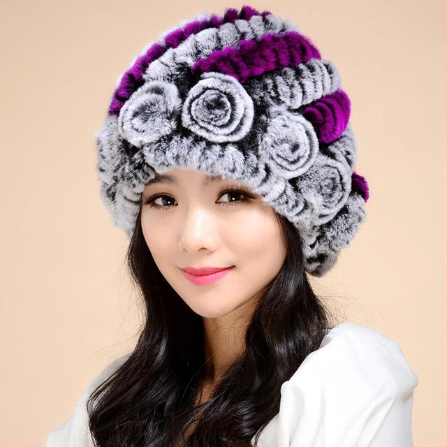 Cabelo do coelho Flor chapéus das mulheres outono e inverno ao ar livre Mulheres moda tecelagem chapéu forrado a pele quente