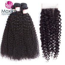 Moxika Hair Brazilian Afro Tight Kinky Curly With Closures 100% Human Hair 4Bundles With Closure 5pcs Remy 8-28inch Black(China)