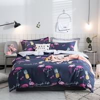 4Pieces Flamingos printing Queen king size Bedding set 100% cotton Bedsheet set Duvet cover Pillowcase