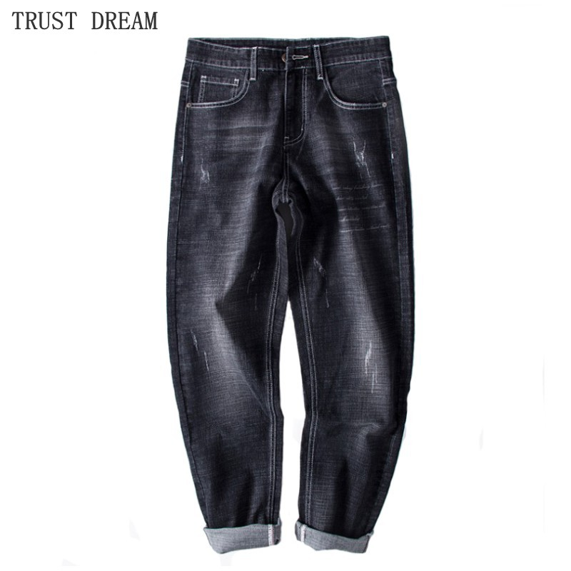 Mens Stretch Straight Regular Pant Scratched Embroidery Black Jean Big Trousers Plus Size 30-46 Man Casual Fashion Fit Jeans