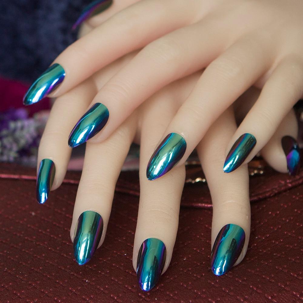 24pcs/set Acrylic Metal Mirror Effect Nails Artificial ...
