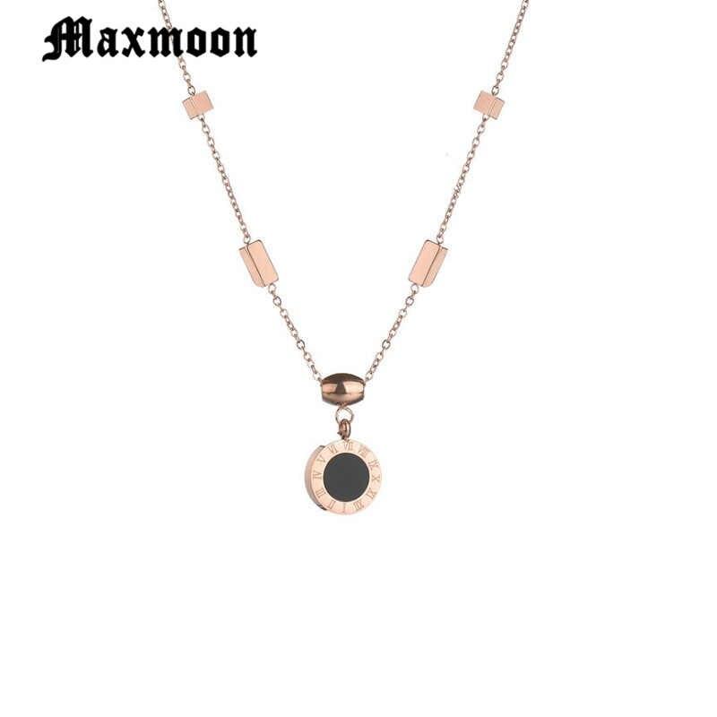 Maxmoon moda kobiety Roman liczba powłoki monety 316 L ze stali nierdzewnej różowe złoto prosty naszyjnik Choker biżuteria Colar Korea