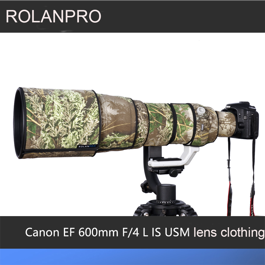 ROLANPRO Lens Camouflage Rain Cover for Canon EF 600mm f/4 L IS USM Lens Anti Shake I Protective Case Guns Clothing SLR Cotton rolanpro lens camouflage rain cover for nikon af s 500mm f 4e fl ed vr lens protective case guns clothing slr cotton clothing