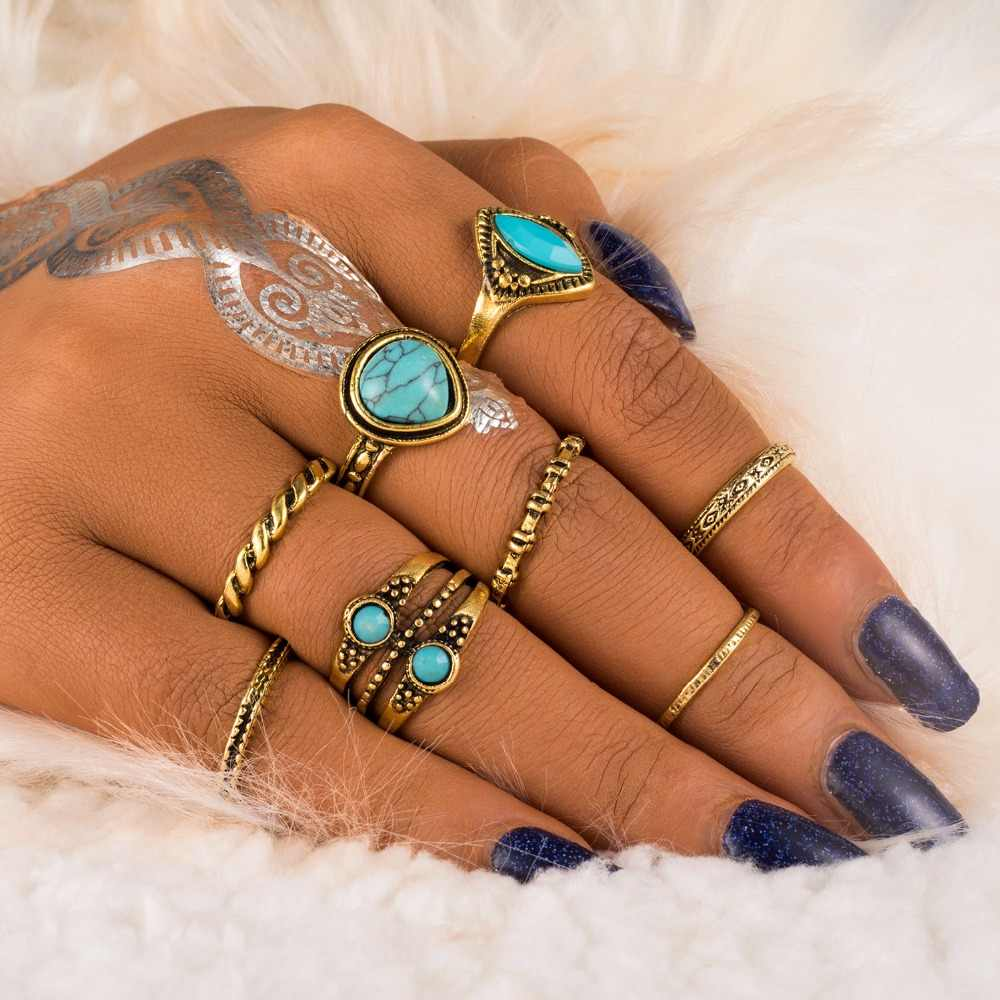 FAMSHIN 8PCS/Set Boho Natural Stone Knuckle Rings Vintage Tibetan Geometric Gold Color Ring Set for Woman Man Fashion Anillos Pu