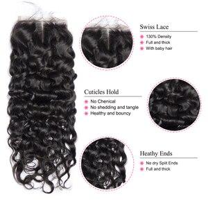 Image 4 - Mshere Wasser Welle Bundles Mit Verschluss Brasilianische Haar 3/4 Bundles Mit Spitze Verschluss Nicht Remy Menschliches Haar Bundles mit Verschluss