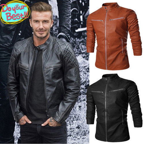 b84723dd8 US $77.64 |Brand New Fashion Long Sleeve 2 Colors David Beckham Motorcycle  Leather Jacket Men Clothing Plus Size Zipper Jackets C516007575-in Faux ...