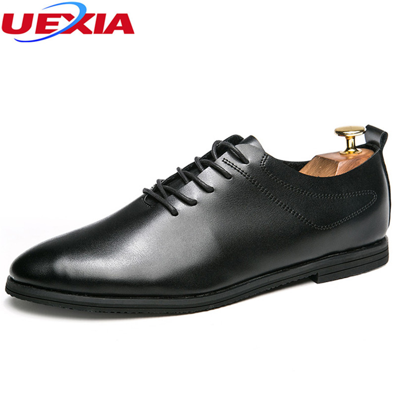 UEXIA Fashion PU Soft Leather Dress Pointed Toe Oxfords Shoes For Men Lace-Up Designer Luxury Fashion Men Business Party Wedding new brand designer formal men dress shoes lace up business party oxfords shoes for men pointed toe brogues men s flats plus size