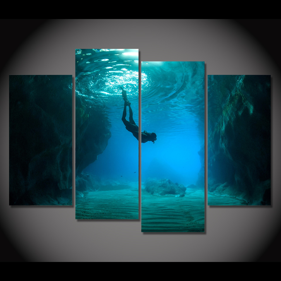 Print Canvas Painting Scuba Diving Wall Art Picture Bar ...