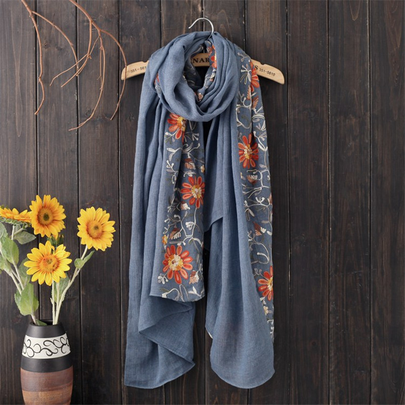 New Autumn Winter Nepal Style Embroidered Scarf Woms