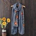 New Outono Inverno Estilo Nepal Bordado Cachecol Mulheres Xailes Wraps Cachecóis Flor Feminina de Algodão de Alta Qualidade Macia e Quente 180*90 centímetros