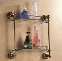 Prateleira de vidro do banheiro antigo escova de acabamento da superfície de metal dupla camada