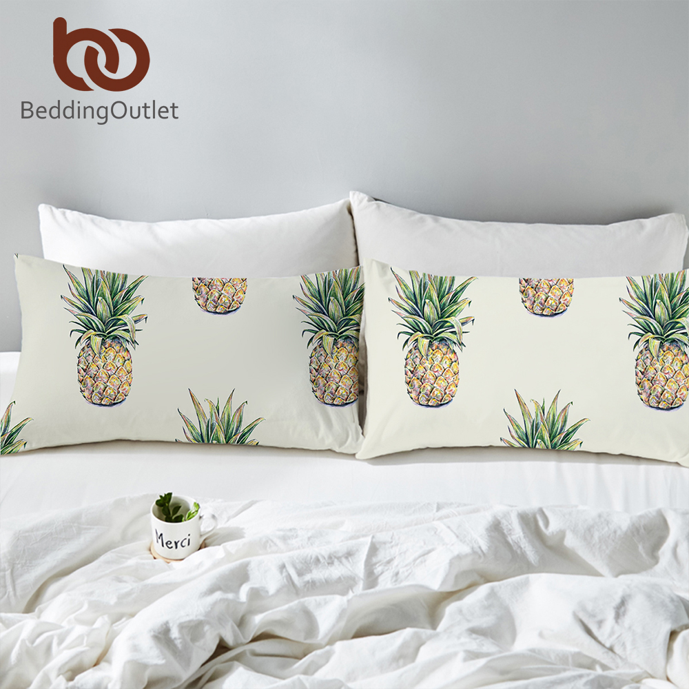 BeddingOutlet Pineapple <font><b>Pillow</b></font> <font><b>Case</b></font> Tropical Fruit Print Sleeping Pillowcase for Kids 3d <font><b>Pillow</b></font> Cover 50x75 <font><b>50x90cm</b></font> Bedding image