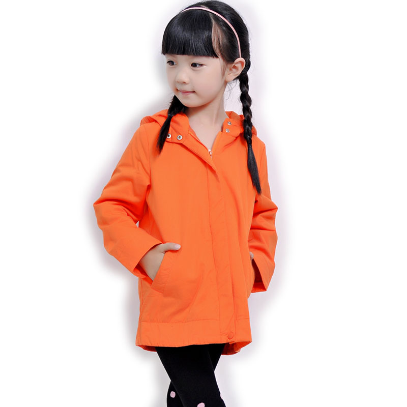 ФОТО 2015 autumn and winter female male child medium-long cotton-padded hooded outerwear child casual all-match solid color outerwear