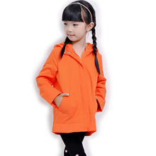 2015 autumn and winter female male child medium-long cotton-padded hooded outerwear child casual all-match solid color outerwear