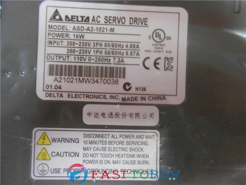 ASD-A2-1021-M Delta AC Servo Drive 1ph 220V 1KW 7.3A CANopen E-CAM with Full-Closed Control New servo drive asd a0721 90% appearance new 3 months warranty in stock
