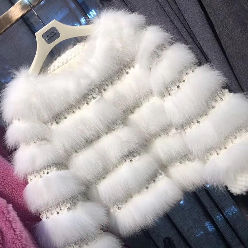 Manteau de fourrure de renard naturel femmes 2018 mode hiver chaud doux réel Rex fourrure de lapin femelle pardessus paillettes