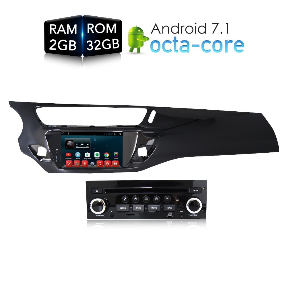 Android 7.1.1 RAM2G Car DVD Stereo Player GPS Glonass Navigation Multimedia for Citroen C3 DS3 2010-2016 Auto Radio Audio Video
