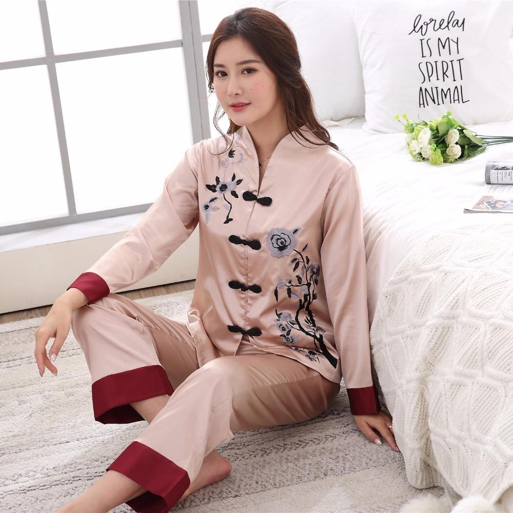 Plus Size XXXL Lady Sexy Rayon Pyjamas Suit 2 pcs Shirt &Pant Sleepwear Novelty Embroidery Chinese Women   Pajama     Set   Flower
