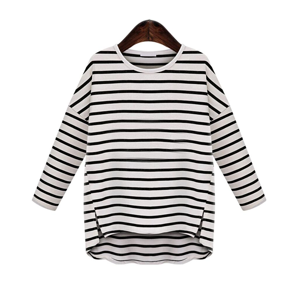 Women Spring And Autumn Turtleneck Korean Style T Shirt Harajuku Top Long Sleeved Black And White Striped Tops