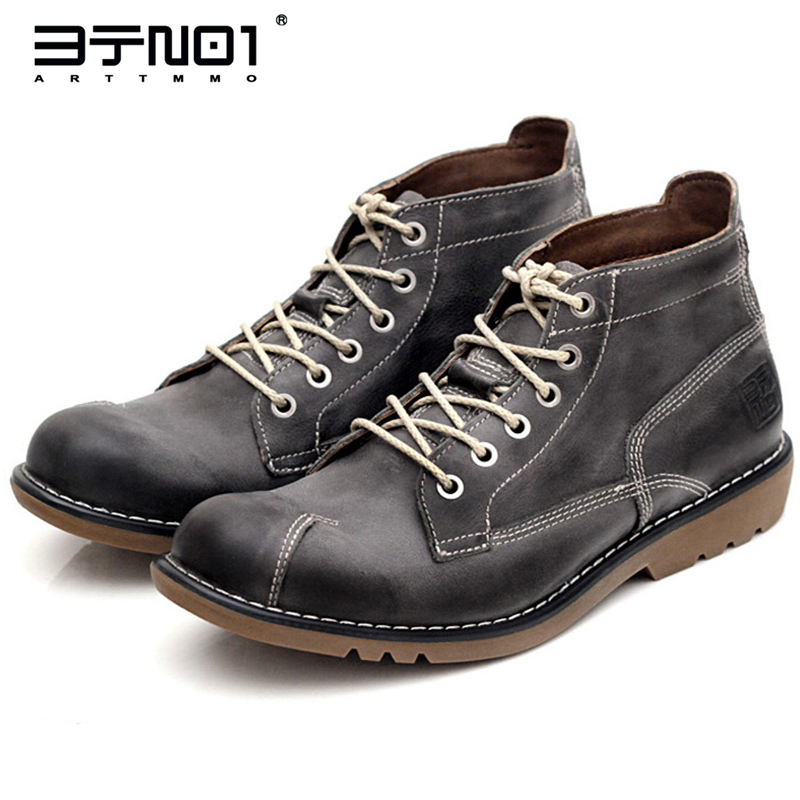 US 6-10 Top Quality Retro Genuine Leather Mens Chukka Lace Up Ankle Boots Winter Round Toe Work Safety Shoes Casual OXfords front lace up casual ankle boots autumn vintage brown new booties flat genuine leather suede shoes round toe fall female fashion