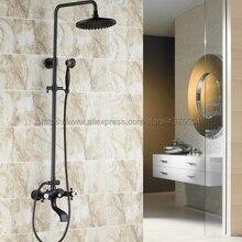 """Черный Масло Втирают Латунь """" дождевой Душ кран с двойной ручкой настенное крепление Ванна Носик смесители для ванных комнат+ ручной душ Nhg105"""