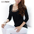 термобелье  Корейский база рубашки женские длинный рукав леди femininas футболка женский топы тис перспектива сетки топ женщина Blusas Gootuch 2476