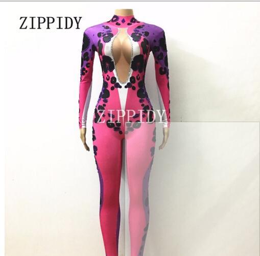 Mode violet léopard combinaison manches longues une-pièce Stretch Costume strass tenue Performance femmes chanteur danseur porter