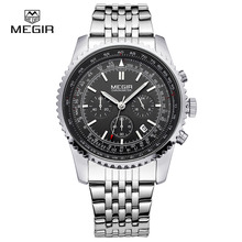 MEGIR 2008 Date Automatic Wrist Watch Men's Waterproof Stainless Steel Men's Watch Fashion Business Design Winner Leather Quartz