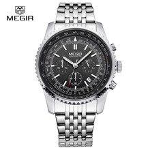 MEGIR 2008 Date Automatic Wrist Watch Men's Waterproof Stainless Steel Men's Watch Fashion Business Design Winner Leather Quartz
