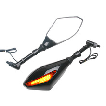 10mm Motorcycle LED Turn Signal Integrated Indicator Rearview Mirror Clear Lens