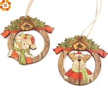 10PCS Creative Christmas Wooden Pendants Ornaments  Xmas Tree DIY Wood Crafts Party Decoration Kids Gift