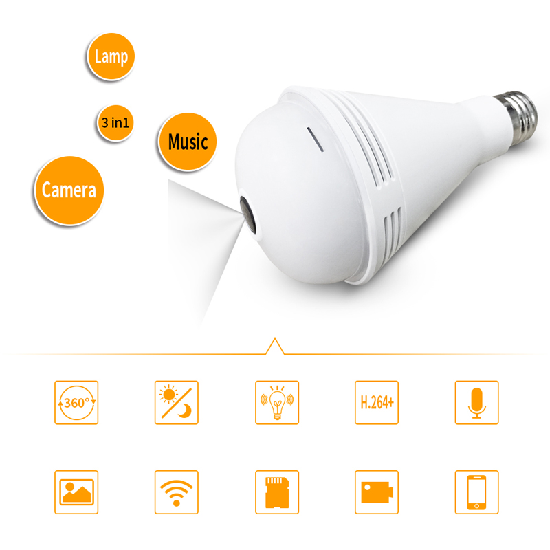 Bluetooth Music 1.3MP IP Wireless Panoramic 3D VR Camera WIFI Bulb Light FishEye Surveillance 360 Degrees CCTV Home Security CamBluetooth Music 1.3MP IP Wireless Panoramic 3D VR Camera WIFI Bulb Light FishEye Surveillance 360 Degrees CCTV Home Security Cam