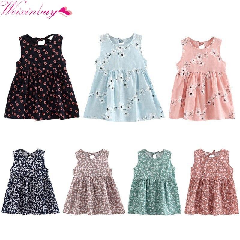 Girls Dress 2017 New Infant Kids Girls A-line Dress Kid Princess Party Dance Evening Vestido  Sleeveless Floral Printed1-5Y вечернее платье evening dress te056 vestido