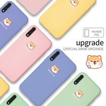 Liquid Silicone Case For Huawei P20 P30 Lite Pro Cute Cartoon Dog Plain Clear Cover Honor 8X 10 lite Mate 20
